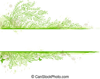 Green banner with flowers and leaves - Vintage green vector...