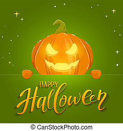Green Banner with Happy Halloween and Pumpkin