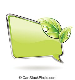 Green banner with leaf and blob. Vector illustration