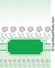 green banner with the flowers