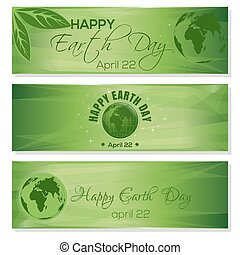 Green banners set for Earth Day. April 22