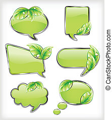 Green banners with leaf. Vector illustration