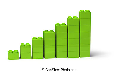 Green bar chart 3d diagram showing steady growth - Bar chart...
