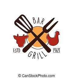 Green bar estd 1969 logo template hand drawn colorful vector...