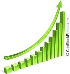 Green bar increasing graph with arrow vector template.