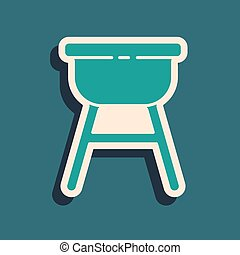 Green Barbecue grill icon isolated on green background. BBQ grill party. Long shadow style. Vector Illustration