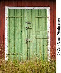 Green barn doors