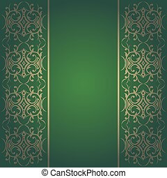 Green baroque vector with flowers