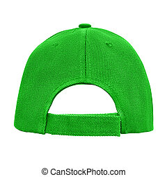 Green baseball cap back view isolated