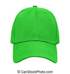 Green baseball cap isolated