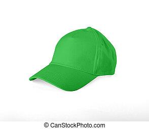 Green Baseball Cap on white background.