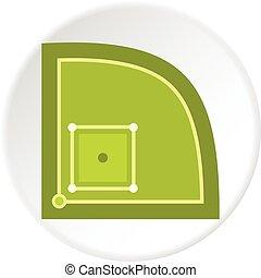 Green baseball field icon circle