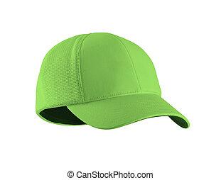 Green Baseball Hat isolated on white background