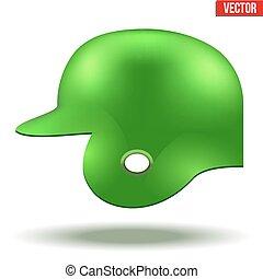 Green baseball helmet