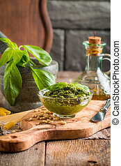 Green basil pesto sauce