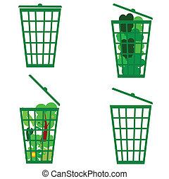 green basket vector
