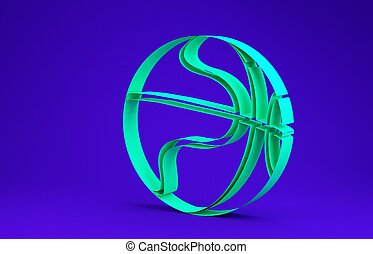 Green Basketball ball icon isolated on blue background. Sport symbol. Minimalism concept. 3d illustration 3D render
