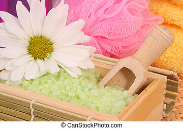 Green Bath Salts with Flower and Bath Sponge