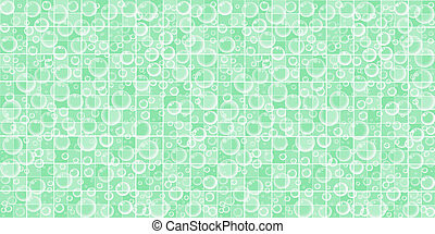 Green Bathroom Tiled Wall with Flying Soap Bubbles