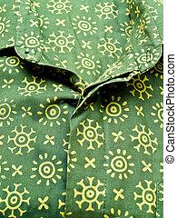 Green batik shirt from Yogyakarta, Indonesia