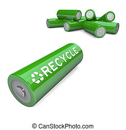 Several green AA batteries with the word Recycle and symbol