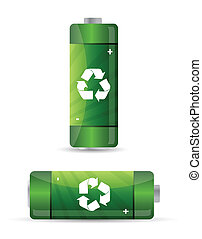 green batteries set with recycling