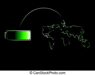 green battery charging the world of renewable energy