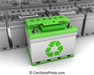 green battery choice - 3d illustration of green energy car ...