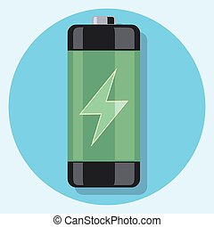 green battery circle icon with shadow