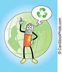 green battery - friendly battery supports recycling
