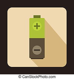 Green battery icon in flat style