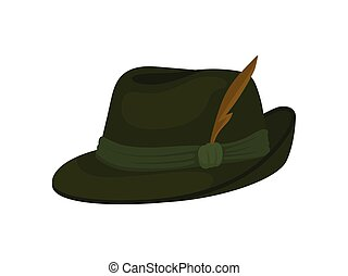 Green Bavarian or Tyrolean hat with feather. Traditional...