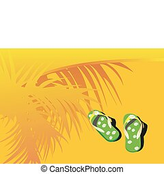 beach sandals on sand and palm leaves silhouette