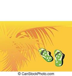 green beach sandals on sand