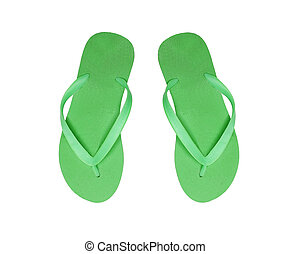 green beach shoes isolated on white background