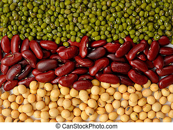 Green bean, soy beans and red bean background / Different types of beans