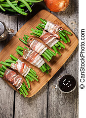 Green bean wrapped in smoked bacon