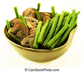 Green beans and mushrooms. Side dishes.