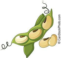 Green beans icon, cartoon style