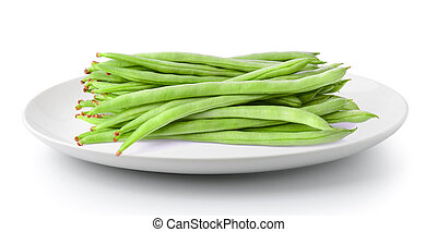 Green beans in a plate isolated on a white background