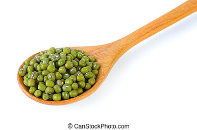 green beans in wood spoon isolated on white background