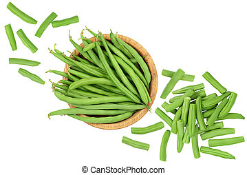 Green beans in wooden bowl isolated on a white background, Top view. Flat lay