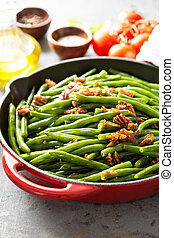 Green beans with caramelized pecans and shallots