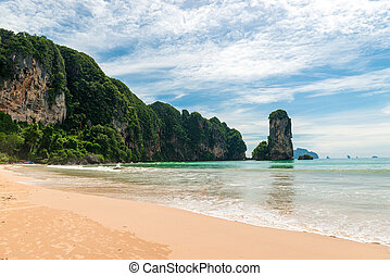 Green beautiful mountains near the Andaman Sea, beautiful scenery, Krabi resort