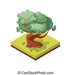 Green beech tree isometric 3D icon