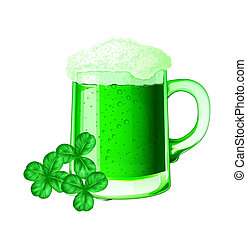 Green beer and clovers for St. Patrick day