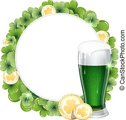 Green beer and gold coins - Glass of green beer and gold...