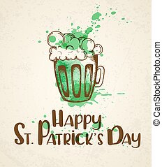Green beer and watercolor blots