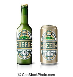 Green beer bottle and golden can - Green beer bottle and...