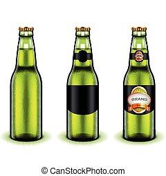 Green beer bottle design 3d realistic vector